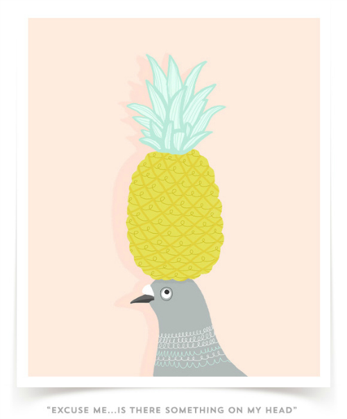Pigeon with pineapple